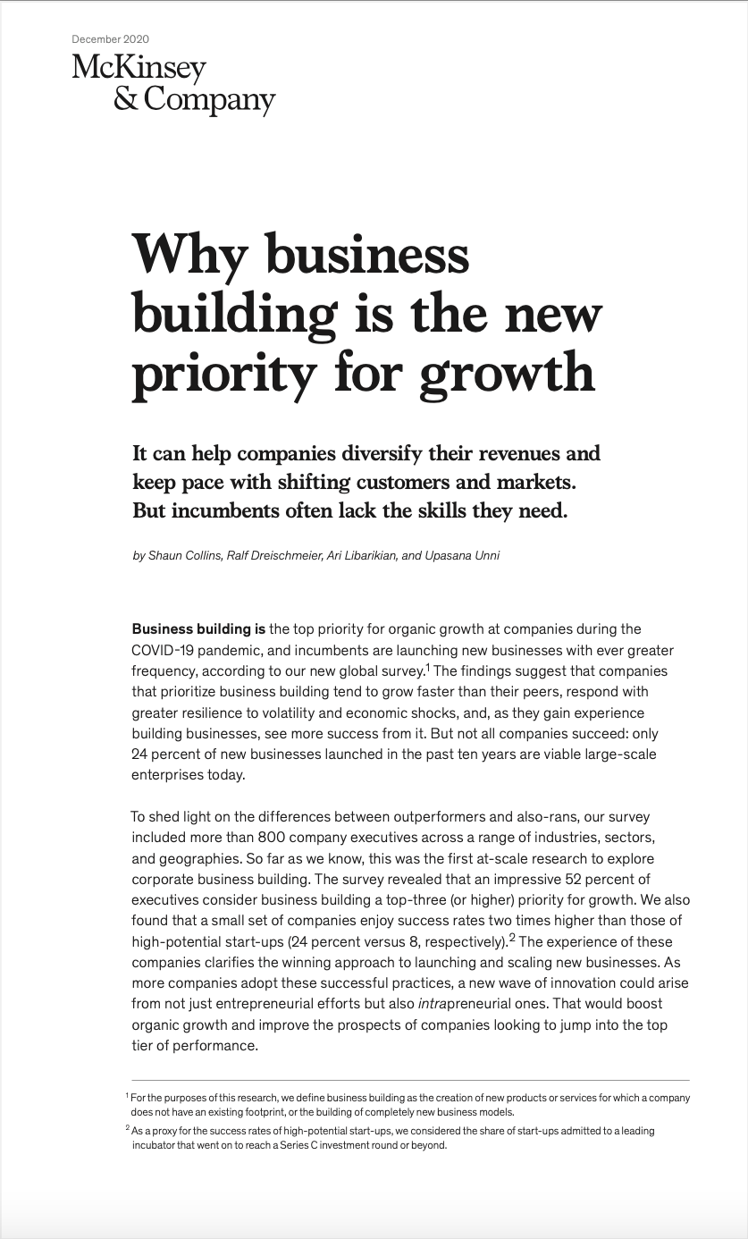 Why business building is the new priority for growth